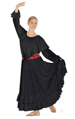 Flamenco Skirt with Solid Double Ruffle